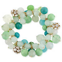 Haskell Bracelet, Gold-Tone Multicolor Bead Cluster Stretch Bracelet - Fashion Jewelry - Jewelry & Watches - Macy's