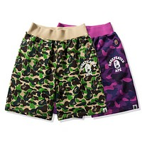 Bape Aape New fashion letter print camouflage couple shorts Green