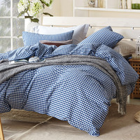 Small blue plaid comforter sets for single or double bed 100% Cotton bedcover Plaid bedding set (duvet cover+sheet+pillowcase)