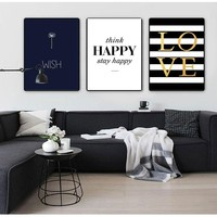 COLORFULBOY Modern Happy Quotes Canvas Painting Black White Wall Pictures For Kids Room Wall Art Posters And Prints Home Decor