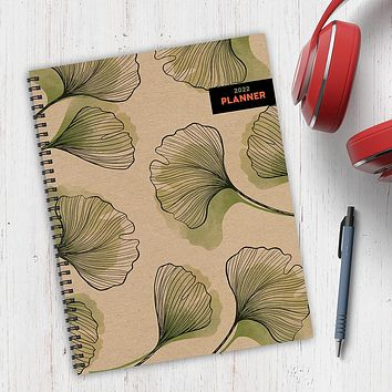 Ginkgo Flower Large Weekly Monthly Planner + Coordinating Planning Stickers
