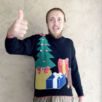 Vintage 80s Gems and Gifts Tacky Ugly Christmas Sweater