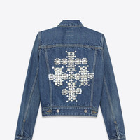 Saint Laurent Studded Cross Jean Jacket In Blue Stone Wash Denim And Silver Toned Metal   ysl.com