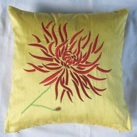 Yellow Chrysanthemum toss pillow w/ red embroidery 16X16 inch cushion