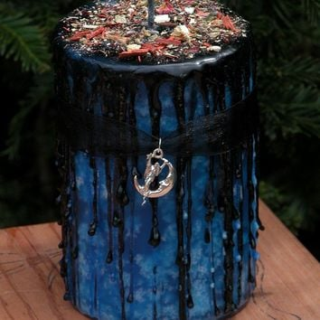 Night Magick . Herbal Alchemy Candle 2x3 . Amber, Lavender, Vanilla, Sandalwood . Night Divine Lunar Magick, Witching Hour, Peace, Balance