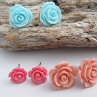 Trio pack,floral earrings,girlie colours, stud earrings gift, cottage chic earrings, girlie, pink earrings, fun, sweet, glitz and glam