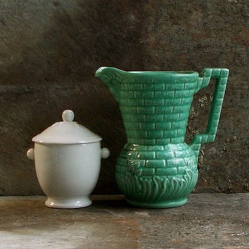 Vintage Green Pottery Pitcher, 1930s Devon Milk Jug England, Kitchenalia