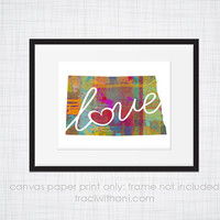 North Dakota Love - NC Canvas Paper Print:  Grunge, Watercolor, Rustic, Whimsical, Colorful, Digital, Silhouette, Heart, State, US