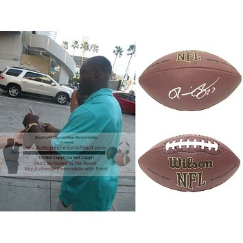 Ronnie Brown Autographed NFL Wilson Football, Miami Dolphins, Proof Photo