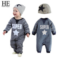 Baby boy Clothing Set autumn Long letter jumpsuits suit + stars hat casual clothes Children set baby set baby clothing suit