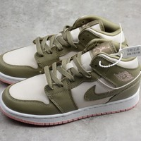 HCXX 19Aug 384 Air Jordan 1 Mid GG 555112-225 Skateboard Shoes Breathable Casual Sneakers