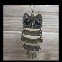 Owl necklace with long chain