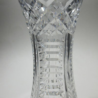"""Hand Cut Glass 8"""" heavy vase 24% crystal, Waterford not signed"""
