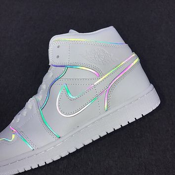 NIKE Air jordan 1 Mid SE WMNS holographic 3M reflective black and white line basketball shoes