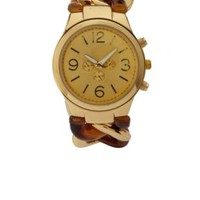 Pale Peach Chain Link Metallic Watch by Charlotte Russe