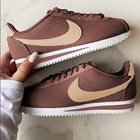 Onewel Nike Classic Cortez Forrest Sports Shoes Classic Shoes Leisure Sneakers Coffee gold hook