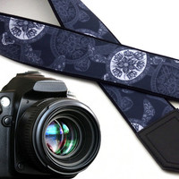 Camera strap Sea Turtles. Grey and white stylized DSLR camera strap. Cute camera straps for him, her by InTePro