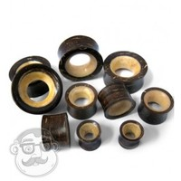 Coconut Shell With Coconut Shell Inlayed Tunnel Plugs (00G - 1 Inch) | UrbanBodyJewelry.com