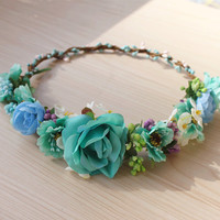 Teal Flower Crown, Flower Headband, Coachella, Music festival, Rave accessory - Teal Ivory Purple Blue Flowers Teal Color Aqua Flower Crown