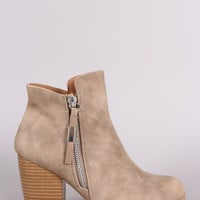 Qupid Nubuck Zip-Up Chunky Heeled Ankle Boots