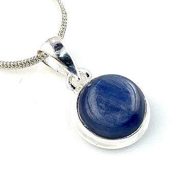Kyanite Sterling Silver Round Pendant