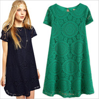 Short Sleeve Hollow Out Lace Dress One Piece Dress [4966037124]