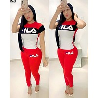 FILA women's fashion stitching letter printing sports and leisure set two-piece Red