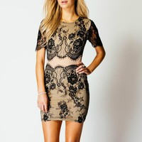FLORAL LACE CONTRASTING BODY CON DRESS