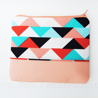 Handmade designer fabric Geometric triangle print zipper pouch peach, navy, aqua, turquoise, coral, and white accented with light peach