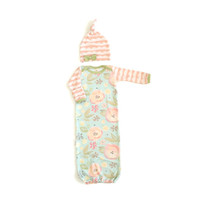 Mint Peonies + Lacey Scallop Newborn Take Home Outfit Baby Girl Gown with Matching Winkie Hat