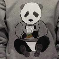 Super Dope Weed Drug Free Panda Bear // Grey Crew Neck Sweatshirt //  420 Kush Blunt High Green Animals