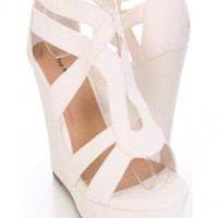White Faux Leather Open Toe Wedges