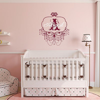 Wall Decal Personalized Monogram Chandelier Frame Style A with Name Nursery Vinyl Wall Decal 22508