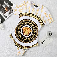 Versace New fashion human head print short sleeve one piece bikini swimsuit White