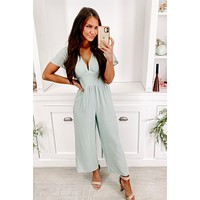 Big Adventures Empire Waist Cropped Jumpsuit (Icy Blue)