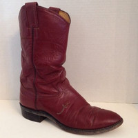 Nocona Boots Womens Size 6.5 M Fashion Calf Boot Leather Made in USA 6 1/2 M Red