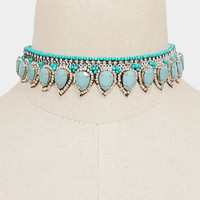 Tribal Teardrop Bead Sequin Choker Necklace - Turquoise