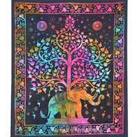 Multicolor Tie Dye Colorful Elephant Tree Tapestry Wall Hanging Bedspread Bedding on RoyalFurnish.com