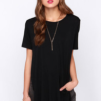 LULUS Exclusive Slit Me Up Black High-Low Top