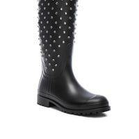 Saint Laurent Crystal Studded Rubber Festival Boots in Black | FWRD
