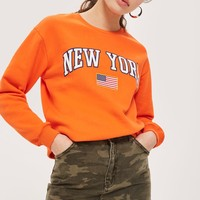 'New York' Slogan Sweatshirt by Tee & Cake | Topshop