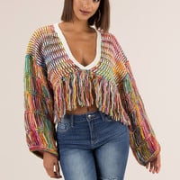 Get Thick Fringed Rainbow Knit Sweater