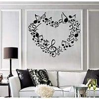 Large Wall Sticker Vinyl Decal heart notes of love symphony music signs Unique Gift (n518)