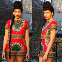 Summer Women Clothing Set Vintage African Tribal Print Elastic Sheath Top and Pants Plus Size 2 Piece african styles for women