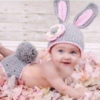 Grey Bunny Rabbit Handmade New newborn Baby infant Girl boy Costume Beanie photography photo Props Crochet Clothes shorts Sets knits caps hats (Size: 0-6m, Color: Gray & Pink) = 1958347716