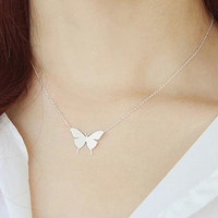 Delicate Silver Butterfly Pendant Necklace, Butterfly Pendant, Dainty Silver Necklace, Silver Jewelry, Designer Jewelry, Trendy Gift for Her
