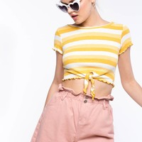 Stripe Tie Front Crop Top