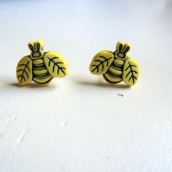 Susie The Busy Bumble Bee Button Earrings by WildThingEarrings