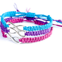 Infinity Bracelets Turquoise, Purple, and Fuchsia