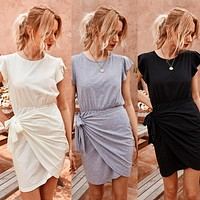 2020 new women's pure color waist knit dress